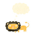 Retro cartoon lion with thought bubble Stock Photography