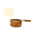Retro cartoon little copper saucepan Stock Image