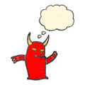 Retro cartoon little devil dancing Stock Photography