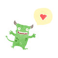 Retro cartoon little devil with love heart Stock Photos