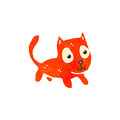 Retro cartoon little orange cat Stock Photography