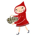Retro cartoon little red riding hood Stock Photo