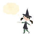 Retro cartoon little witch Stock Photo