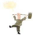 Retro cartoon man with big hammer Royalty Free Stock Photos