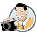 Retro cartoon man with camera Stock Photography
