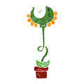 Retro cartoon man carnivorous plant Royalty Free Stock Images