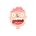 Retro cartoon man with exposed brain Stock Photo