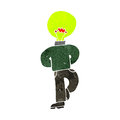 Retro cartoon man with light bulb head Stock Photography
