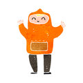 retro cartoon man in orange hooded top Royalty Free Stock Photo