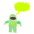 Retro cartoon man in protective suit Stock Image