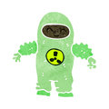 Retro cartoon man in protective suit illustration on plain white background Stock Photography