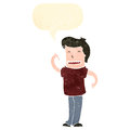 Retro cartoon man with speech bubble pointing at himself Stock Photography