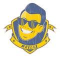 Retro cartoon man on vintage emblem