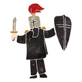 Retro cartoon medieval black knight Stock Photo