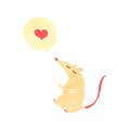 Retro cartoon mouse with love heart Stock Photography