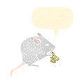 Retro cartoon mouse nibbling cheese Stock Images