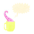 Retro cartoon mug with tentacle Stock Photos