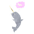 Retro cartoon narwhal dreaming of being a unicorn Royalty Free Stock Photos