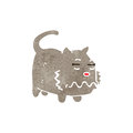 Retro cartoon nauseous cat illustration on plain white background Stock Photography