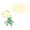 Retro cartoon nautilus squid Royalty Free Stock Image