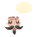 Retro cartoon open minded circus head tattoo Royalty Free Stock Photography