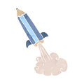 Retro cartoon pencil rocket Royalty Free Stock Photos