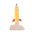 Retro cartoon pencil rocket Royalty Free Stock Photo