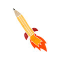 Retro cartoon pencil rocket Stock Photo
