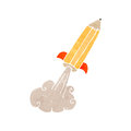 Retro cartoon pencil rocket Stock Image