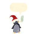 Retro cartoon penguin smoking marijuana Stock Images
