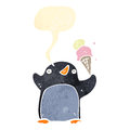 Retro cartoon penguin with speech bubble and ice cream Stock Images