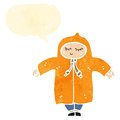 Retro cartoon person in rain coat Stock Image