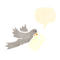 Retro cartoon pigeon carrying letter Royalty Free Stock Image
