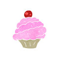 Retro cartoon pink cupcake illustration on plain white background Royalty Free Stock Image