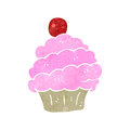 Retro cartoon pink cupcake illustration on plain white background Stock Photos