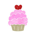 Retro cartoon pink cupcake illustration on plain white background Royalty Free Stock Images