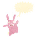 Retro cartoon pink rabbit Royalty Free Stock Image