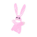 Retro cartoon pink rabbit Stock Photos