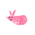 Retro cartoon pink rabbit Royalty Free Stock Photography