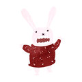 Retro cartoon pink rabbit illustration on plain white background Stock Photos