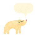Retro cartoon polar bear with speech bubble Royalty Free Stock Photos