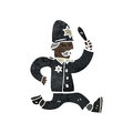 Retro cartoon policeman giving chase with texture isolated on white Royalty Free Stock Images