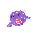 Retro cartoon puffer fish Stock Image