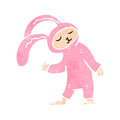 Retro cartoon rabbit costume Stock Photo