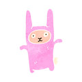 Retro cartoon rabbit costume illustration on plain white background Royalty Free Stock Photo
