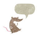 retro cartoon rat with speech bubble