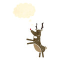 Retro cartoon red nosed reindeer Royalty Free Stock Images