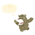 Retro cartoon roaring bear Stock Images