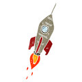 Retro cartoon rocket Stock Images