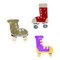 Retro cartoon roller skates Royalty Free Stock Photography